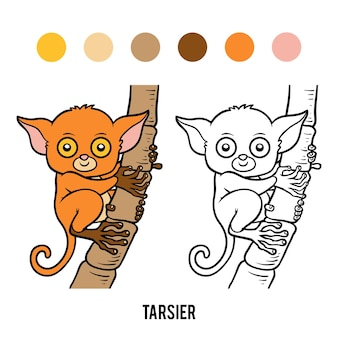 Malbuch für kinder, tarsier