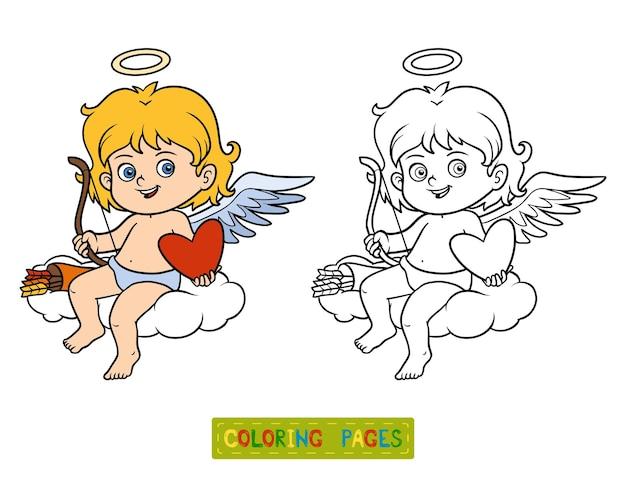 Malbuch für kinder, valentinstag-charakter, engel