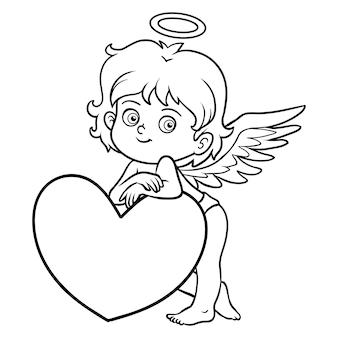 Malbuch für kinder, valentinstagsfigur, engel
