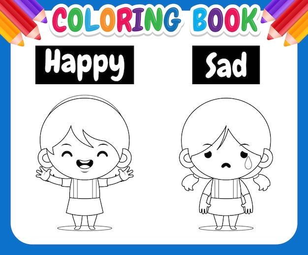 Malbuch für kinderillustration mit niedlichen mädchenzeichnungen, die entgegengesetzte wörter glücklich und traurig lehren