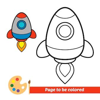 Malbuch für kinderraketenvektor