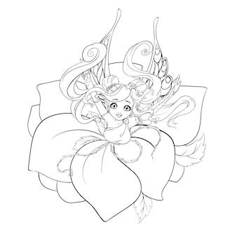 Malbuch. hand gezeichnetes karikaturfee-mädchen, das rosenblätter trägt.