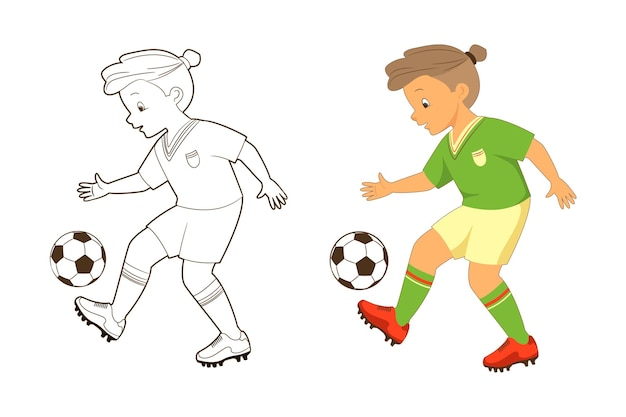 Malbuch, junge fußballspieler kickt den ball. vektor-illustration im cartoon, flacher stil, strichzeichnungen