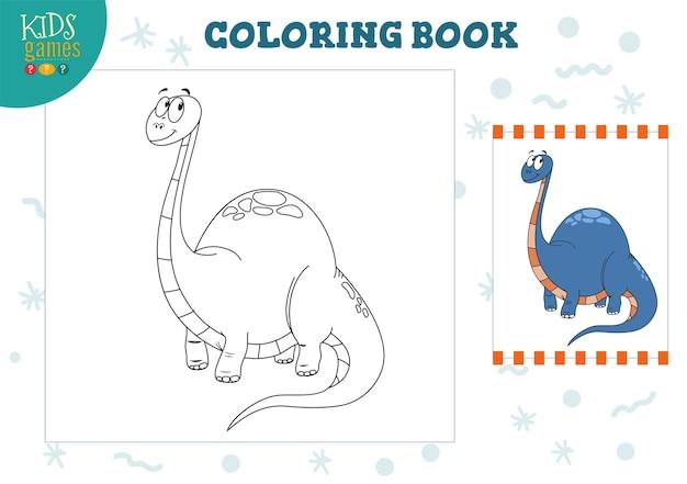 Malbuch, leere seitenabbildung. vorschulkinderaktivität mit dem zeichnen und färben der zeichentrickfilm-dinosaurierfigur.