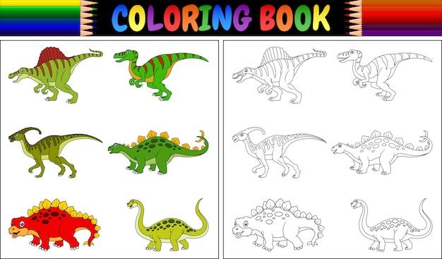 Malbuch mit dinosaurierkarikatursammlung