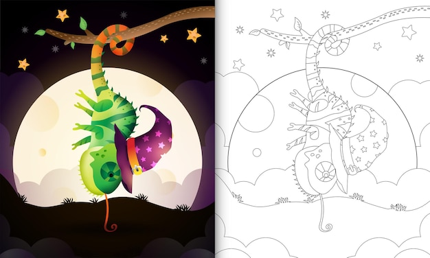 Malbuch mit einem niedlichen cartoon-halloween-hexe-chamäleon vor dem mond