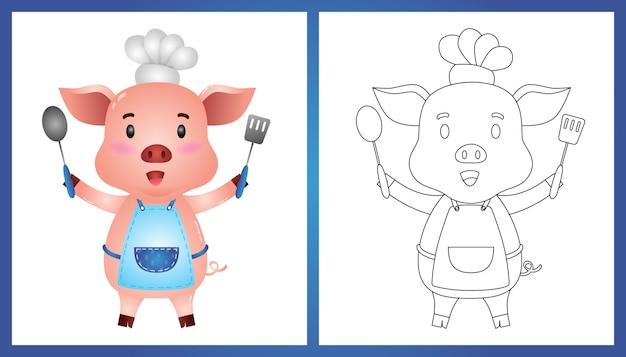 Malbuch mit einem niedlichen kleinen schweinekoch