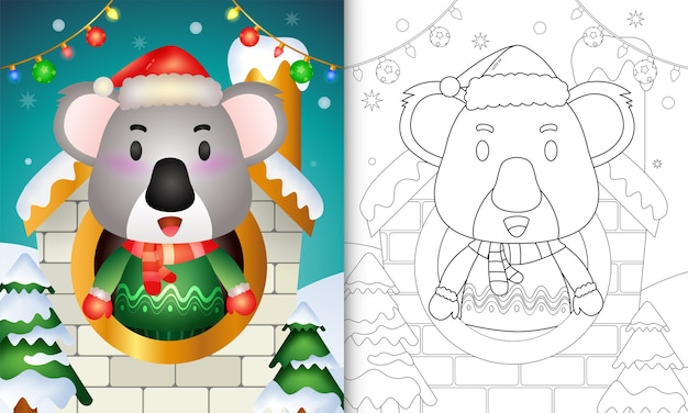 Malbuch mit einer niedlichen koala-weihnachtsfigur mit weihnachtsmütze und schal im haus