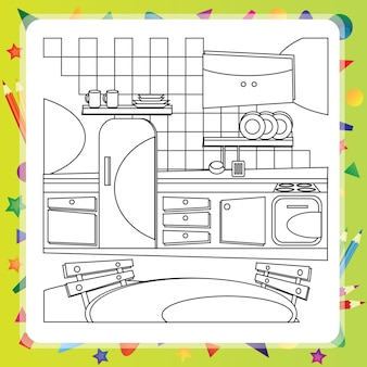 Malbuch mit küchenkarikaturen - vektorillustration.
