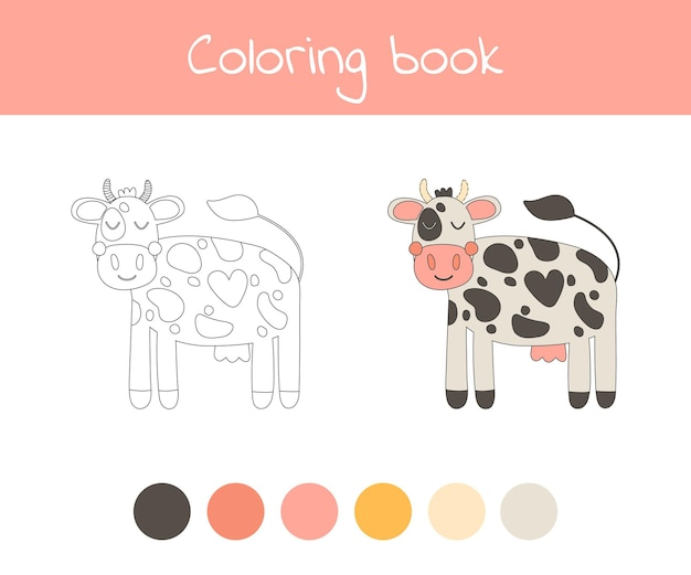 Malbuch mit niedlichem vieh eine kuh. für kinder im kindergarten-, vorschul- und schulalter. vektor-illustration.