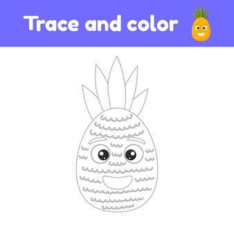 Malbuch mit niedlichen früchten eine ananas. für kinder kindergarten, vorschule und schulalter. arbeitsblatt verfolgen. entwicklung von feinmotorik und handschrift.