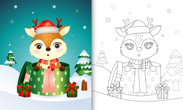 Malbuch mit niedlichen hirschweihnachtsfiguren mit weihnachtsmütze und schal in der geschenkbox