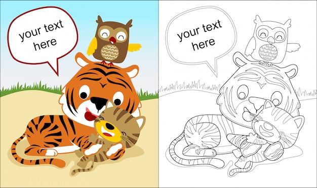 Malbuch mit tiger-cartoon und freunden