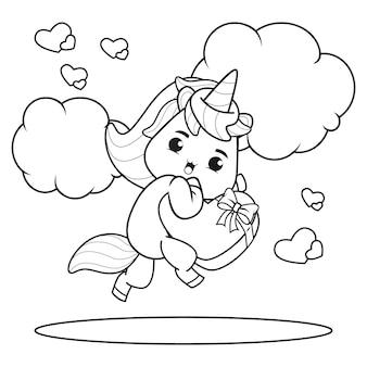 Malbuch nettes einhorn für valentinstag illustration