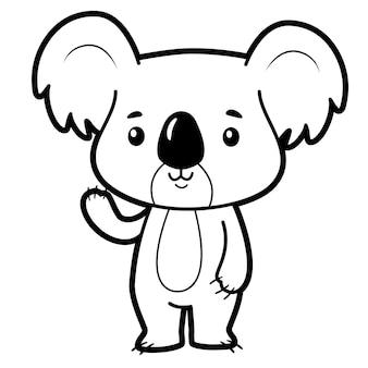 Malbuch oder seite für kinder. koala schwarz-weiß-vektor-illustration