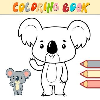 Malbuch oder seite für kinder. koala schwarzweiss-illustration