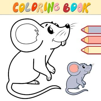 Malbuch oder seite für kinder. maus-schwarzweiss-illustration