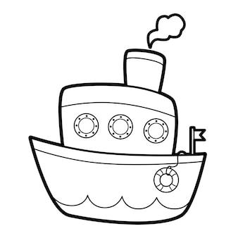 Malbuch oder seite für kinder. schiff schwarz-weiß-vektor-illustration