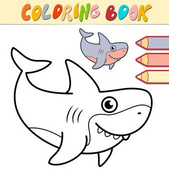 Malbuch oder seite für kinder. schwarz-weiß-illustration des hais