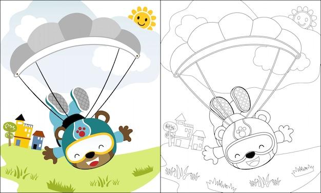 Malbuch oder seite mit fallschirmspringer cartoon