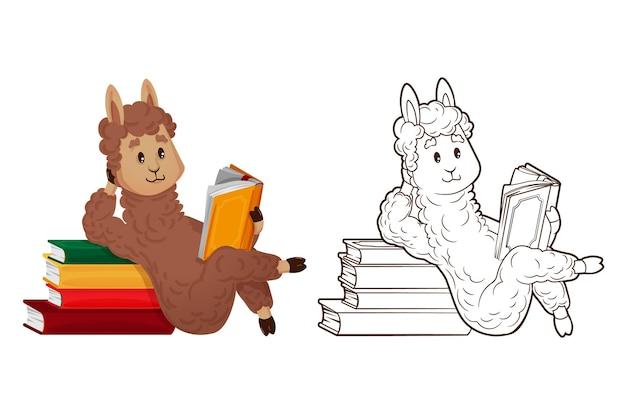 Malbuch, süßer lama liest im liegen und stützt sich auf einen stapel bücher. vektor, illustration im cartoon-stil, strichzeichnungen, flach