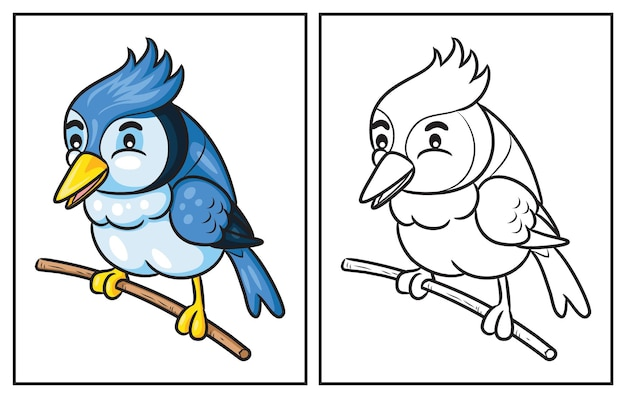 Malbuch süßer vogel. malvorlage und bunter clipart-charakter