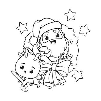 Malbuch weihnachtstag mit weihnachtsmann und niedlichen hirschen