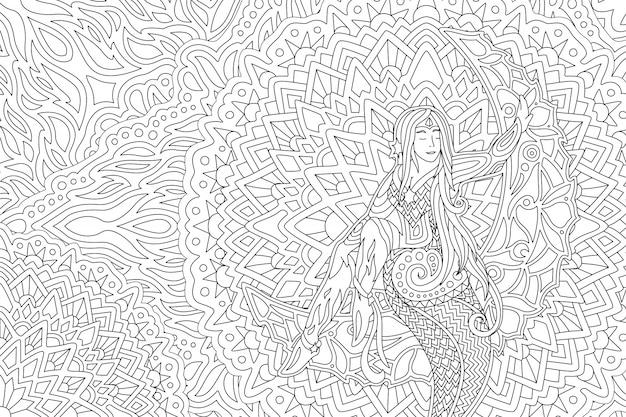 Malbuchkunst mit schönem mädchen auf dem mond