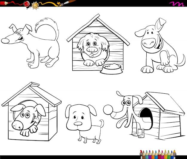 Malbuchseite der lustigen hundecharaktere der karikatur