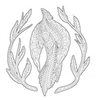 Malbuchseite mit schönem vogel und pflanzen