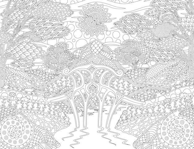 Malbuchseite mit sonniger fantasielandschaft