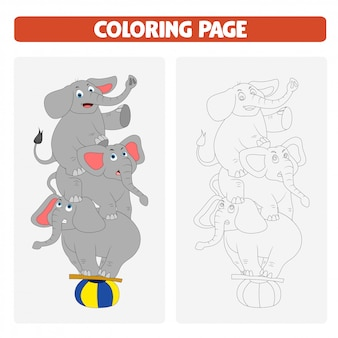 Malbuchseiten für kinder. elefanten-cartoon