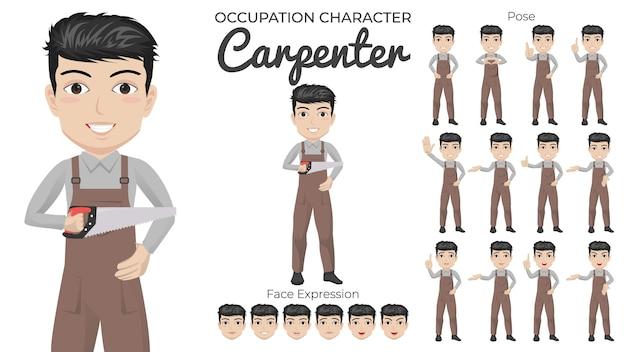 Male carpenter character set mit einer vielzahl von pose- und gesichtsausdrücken