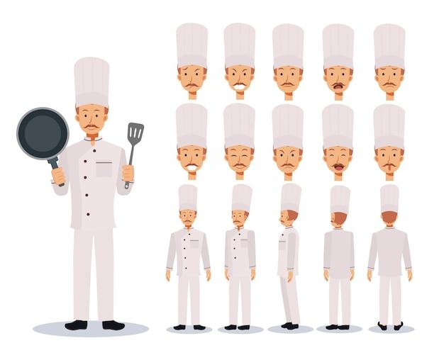 Male chef flat charakter kreationsset mit verschiedenen ansichten