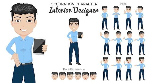 Male interior designer character set mit einer vielzahl von pose und gesichtsausdruck