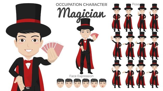 Male magician character set mit verschiedenen pose- und gesichtsausdrücken