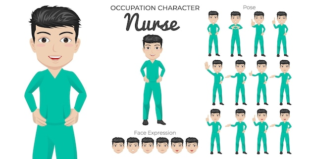 Male nurse character set mit verschiedenen pose- und gesichtsausdrücken