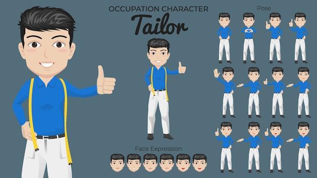 Male tailor character set mit verschiedenen pose- und gesichtsausdrücken