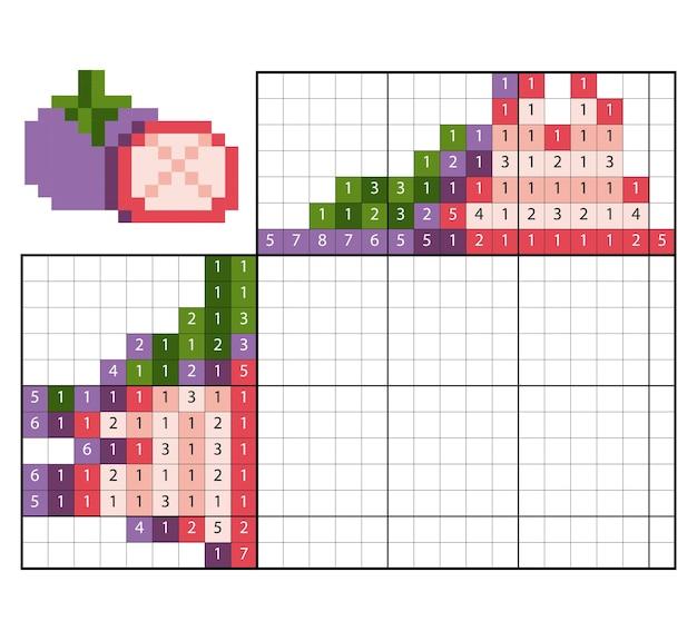Malen nach zahlenpuzzle (nonogramm), lernspiel für kinder, mangostan