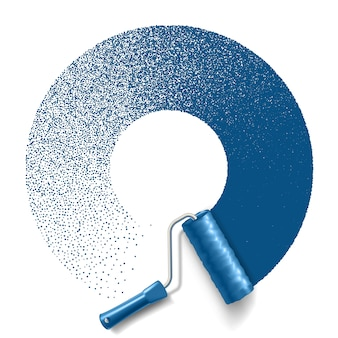 Malen sie den walzenpinsel mit der blauen farbkreisbahn lokalisiert auf weißem hintergrund. gilt für banner und etiketten. .