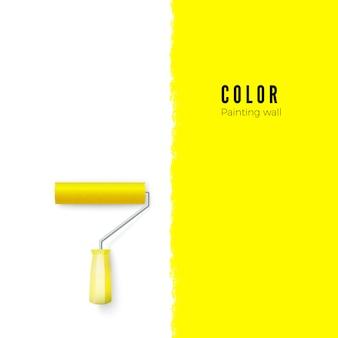 Malen sie die walze mit farbe und platz für text oder anderes an der vertikalen wand. illustration