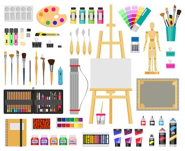 Malen sie kunstwerkzeuge. künstlerische lieferungen, mal- und zeichenmaterialien, pinsel, farben, staffelei, kreative kunstwerkzeuge illustrationsikonen gesetzt. malzeichnung pinsel, bildung künstlerisches werkzeug