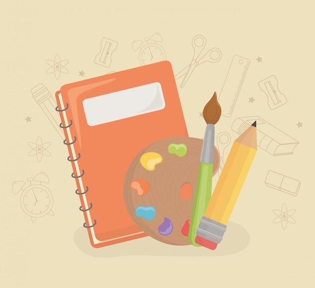 Malen sie palette und versorgungsmaterialien zurück zur schule