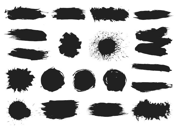 Malen sie schwarze kleckse. tinte spritzt, graffiti spritzt. abstrakte grunge-textur, fleckschattenbild-vektorsatz. illustration splatter farbe, silhouette grunge