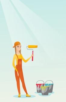 Maler, der farbenrollen-vektorillustration hält.
