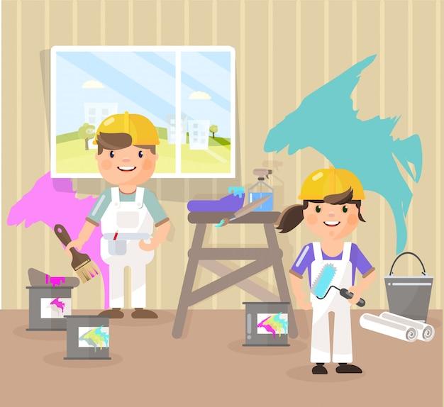 Maler malen den raum, nehmen die farbe auf