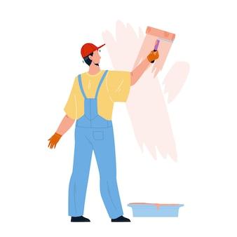 Maler-mann-malerei-wand mit roller-tool-vektor. maler-junge, der zimmer mit pinsel renoviert und färbt. charakter-mechaniker-beruf, renovierungshaus oder büro-flache karikaturillustration