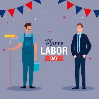 Maler mann und geschäftsmann mit happy labour day nachricht