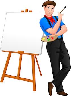 Maler posiert vor der leinwand