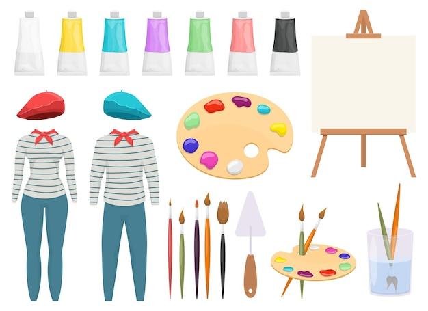 Maler-set-design-illustration isoliert auf weißem hintergrund